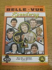 14/04/1984 Speedway Programme: Belle Vue v Sheffield [League Cup] (results table