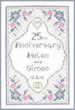Silver Anniversary Sampler - 25th anniversary - cross stitch kit on 14 aida