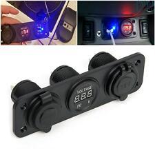12V Dual USB Car Boat Motorcycle Voltmeter Cigarette Lighter Power Plug Socket