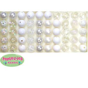 12mm White Acrylic Mixed Style Bubblegum Beads Lot 50 pc.chunky gumball