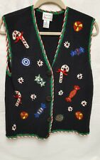 HASTING & SMITH EMBROIDERED UGLY CHRISTMAS VEST WOMENS SIZE M CANDY CANE