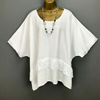 Italian Tunic Top Linen Lace Frill White Lagenlook Plus Size UK 18 20 22 24 26