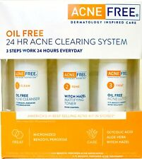 AcneFree Oil Free 3 Step 24 Hr Acne Clearing System Micronized Benzoyl Peroxide