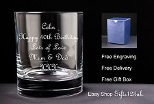 Personalised 10oz Whisky Glass Birthday Gift 40th 42nd 43rd 44th 46th 48th 49th