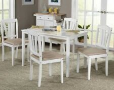 5 Pc White Wood Dining Room Set Kitchen Chair Table Sets Tables Chairs Furniture