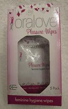 Oralove Pleasure Wipes Feminine Hygiene 5pks Fresh Clean Scent Flushable Gym Bag