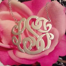 New Personalized Silver Jewelry Monogram Initial Name Necklace(made in USA)1.25""