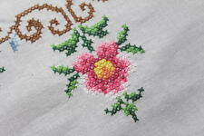 Pink Blooming Daisy Spectacular! Vtg German Hand Emb Madeira Large Tablecloth