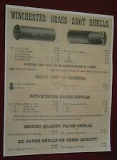 1886 Winchester Brass & Paper Shot Shotgun Shells Primers & Prices Poster Repo