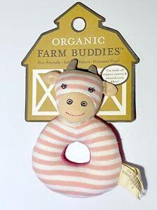 APPLE PARK Georgia Giraffe Baby Girl Pink Organic Teething Ring Rattle Ages 0+