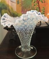 "Early Fenton Four-Mould Opalescent Hobnail Ruffled Top 7-1/2"" Vase"