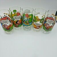 5 Vintage Peanuts McDonalds Drinking Glasses Camp Snoopy Charlie Brown Linus