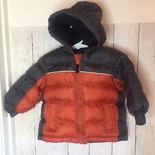 Oshkosh Boy's Toddler Winter Puff Jacket Coat Size 12M Black/Orange EUC