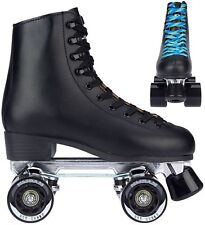 NIJDAM 52rm Leather Retro Roller Skates Black WITH ALUMINIUM CHASSIS SIZE 38
