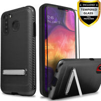 For Samsung Galaxy A11 A21 A01 Case, Kickstand Cover + Tempered Glass Protector