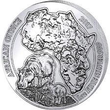 Ruanda 50 Sarebbe Argento 999/1000 1 Oncia 2017 Ippopotamo 1 Oz silver