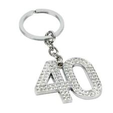 40th Birthday Gift - Silver Plated Keyring With Diamante SP63340