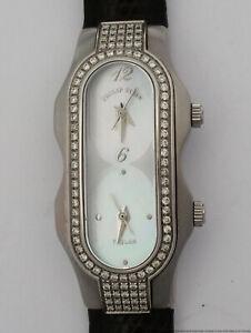 Philip Stein Teslar Two Time Zone Diamond Steel MOP Dial Ladies Watch