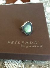 Silpada R1852 Sterling Silver Green Glass Ring Size 8 Retail was $79 New MINT