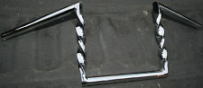 "**Harley Chrome Twisted Z-Bar Handle Bar 7/8"" Chopper Rat Rod Vintage 1970's #87"