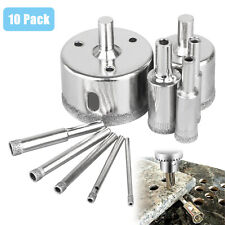 10x 3-50mm Diamond Hole Saw Drill Bit Set Glass Ceramic Tile Marble Cutting Tool