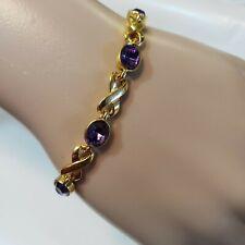 Avon Women Bracelet Gold Purple Gemstone Tennis Bracelet Infinity Symbol