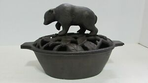 t Cast Iron Pot with Grizzly Bear Lid Humidifier