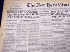 1940 OCT 13 NEW YORK TIMES RUSSIANS MASS AT FRONTIER, NAZIS IN BUCHEREST- NT 331