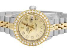 Ladies Rolex Datejust Two Tone 18K/ Steel 26MM Champagne Dial Diamond Watch 2 Ct