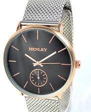 Reloj con Banda De Malla Henley Para Hombre Ajustable Negro & Rose Gold Tone Dial Nuevo y Sellado