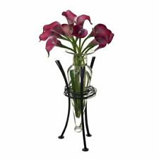 Clear Amphora Vase with Wire Stand