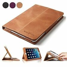 Boriyuan iPad 9.7 Premium Magnetic 100% Genuine Leather Case Folio Book Cover