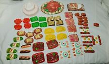 Vintage Thin Plastic 1950/60's Molded Play Food  58 Pieces Toy/Doll Food