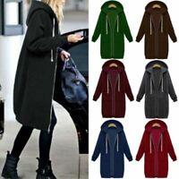 US Women Warm Zipper Hoodie Sweater Hooded Long Jacket Sweatshirt Coat Plus Size