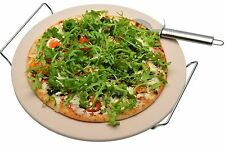Ceramic Pizza Stone Cooking Set With Chrome Stand & Pizza Cutter 32cm Diameter