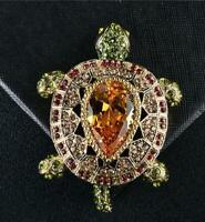 Luxury Vintage Crystal Style Turtle Animal Pendant Brooch Pin Topaz Tortoise
