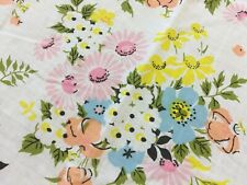 VTG Twin Flat Sheet Pink Blue Yellow Pastel Daisies Shabby Cottage Farmhouse