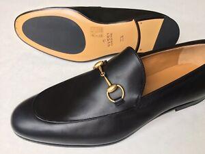 GUCCI Mens 'Jordaan' Gold Horsebit Loafer Black Leather Sz 11.5 UK (US 12) $800