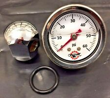 44 Chrome Rocker Box Shaft Oil Pressure Gauge Harley Ironhead Shovelhead white