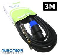 3m Speaker Lead Cable PA Amp Stage DJ Lead 2 Pole Speak on - 6.35mm Jack