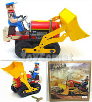 MS357 Classic Bulldozer Tractor Retro Clockwork Wind Up Tin Toy w/Box