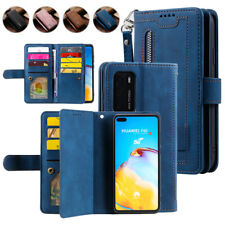 For Huawei P40 Pro P30 Lite Zipper Wallet Case Card Strap Leather Flip Cover