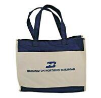 Vintage Burlington Northern Railroad BN Railway Blue White Canvas Tote Bag Carry