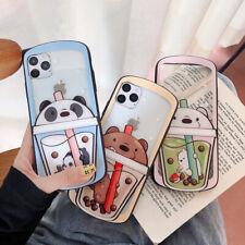 Cute Bear Milk Tea Soft TPU + PC Phone Case For iPhone 11 Pro Max XR 7 8 SE 2020