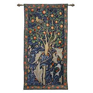 Tapestry Wall Hanging William Morris Woodpecker Fruit Tree Birds Orange Artwork