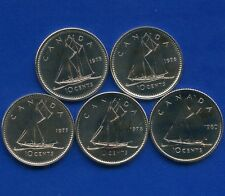 5 Canada Uncirculated 10 Cent Coins 1975 1976 1977 1978 & 1980