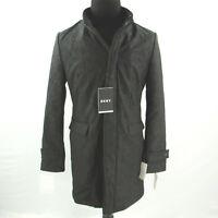 $395 DKNY Slim Fit Geometic Pattern Raincoat Mens 42S 42 Large Black Hood NEW