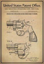 US Patent Colt Revolver 1973 Blechschild Schild gewölbt Tin Sign 20 x 30 cm