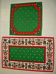 "AUSTRIAN FOLK DRESS & FLOWER DESIGN KOLF COTTON DOILY 17.5""X 11"" & 10.5""X 10.75"""