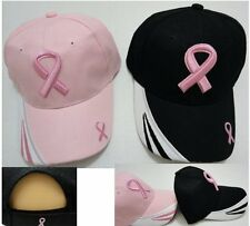 12pc Lot BREAST CANCER AWARENESS Curved Bill Baseball Hats Black & Pink